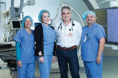 Rafael Chacon with medical team